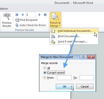 Microsoft Word: Mail Merge into single documents – Swiss Mac User 