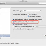 OSX Authentication Fails - Show Input Sources in Login Window