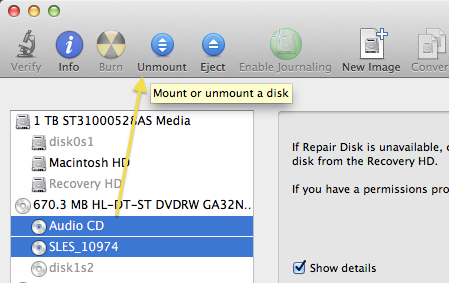 OSX Disk Utility unmount drives