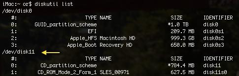 OSX Terminal diskutil list drives