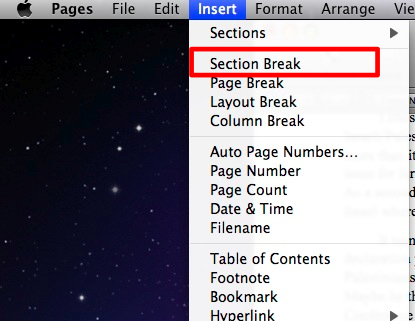 how to combine landscape and portrait page using page break