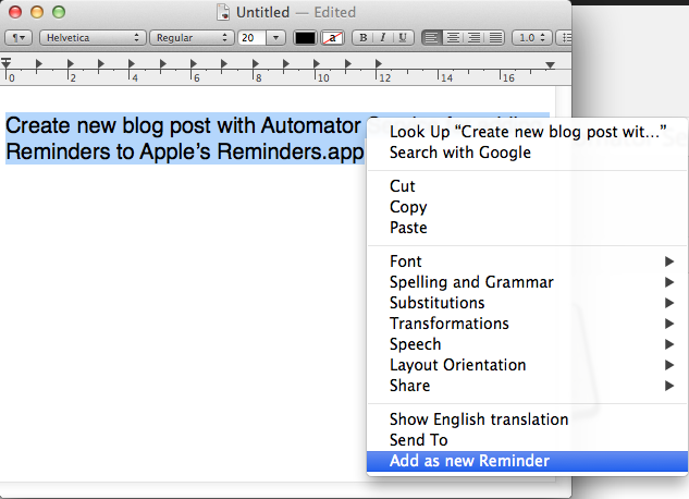 OS X: Add new Reminder to Reminders app using Automator