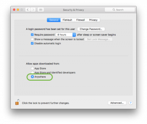 macOS Sierra Security+Privacy Restored Allow from Anywhere