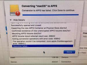 macOS High Sierra Beta - APSF issue with external bootable SSD - 01 APSF Conversion failed