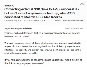 macOS High Sierra Beta - APSF issue with external bootable SSD - 12 Bug confirmation by Apple