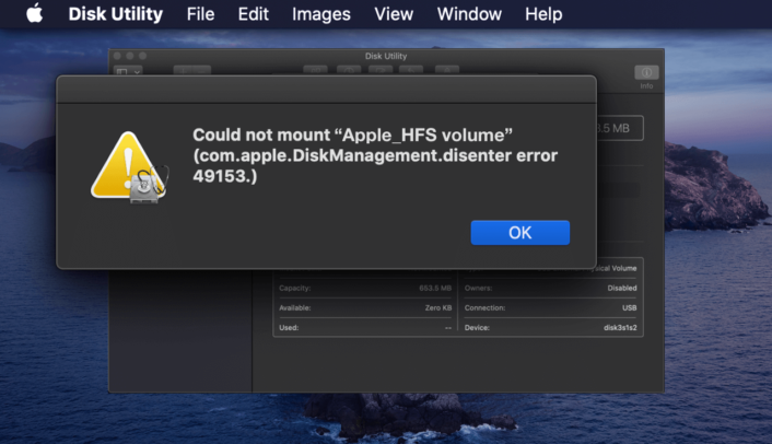 Teaser image showcasing the macOS Disk Utility cannot mount error for Apple_HFS volume